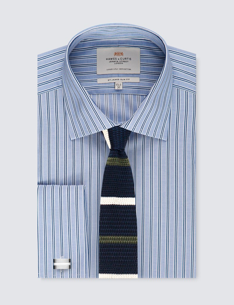 Men's Blue & Navy Multi Stripe Slim Fit Dress Shirt - Double Cuff - Easy Iron