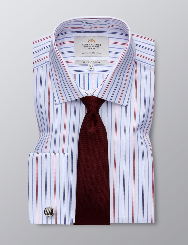 Men's Blue & Red Multi Stripe Slim Fit Business Shirt - Double Cuff - Easy Iron