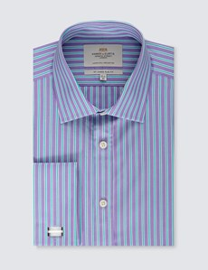 Men's Dress Purple & Green Multi Stripe Slim Fit Shirt - French Cuff - Easy Iron