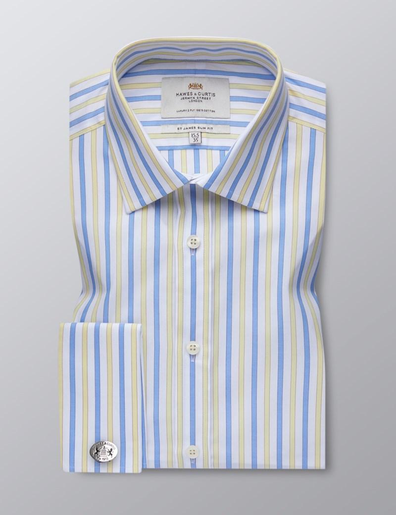 Men's Formal Yellow & Blue Multi Stripe Slim Fit Shirt - Double Cuff - Easy Iron