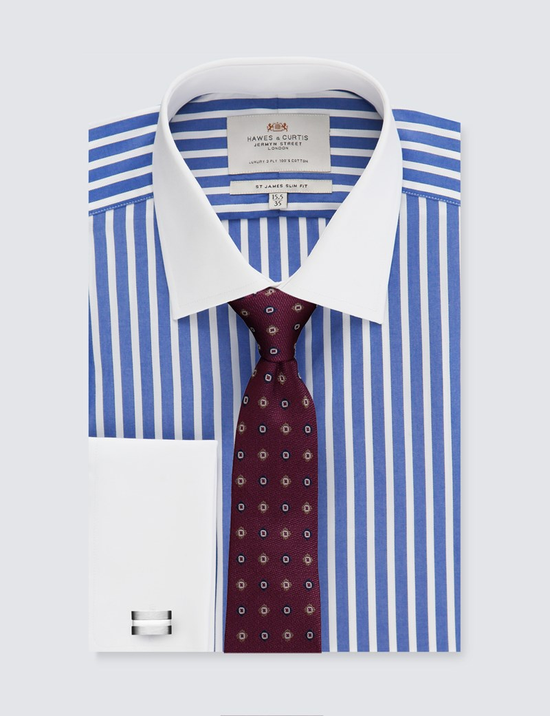 Men's Formal Blue & White Stripe Slim Fit Shirt - Double Cuff - Easy Iron