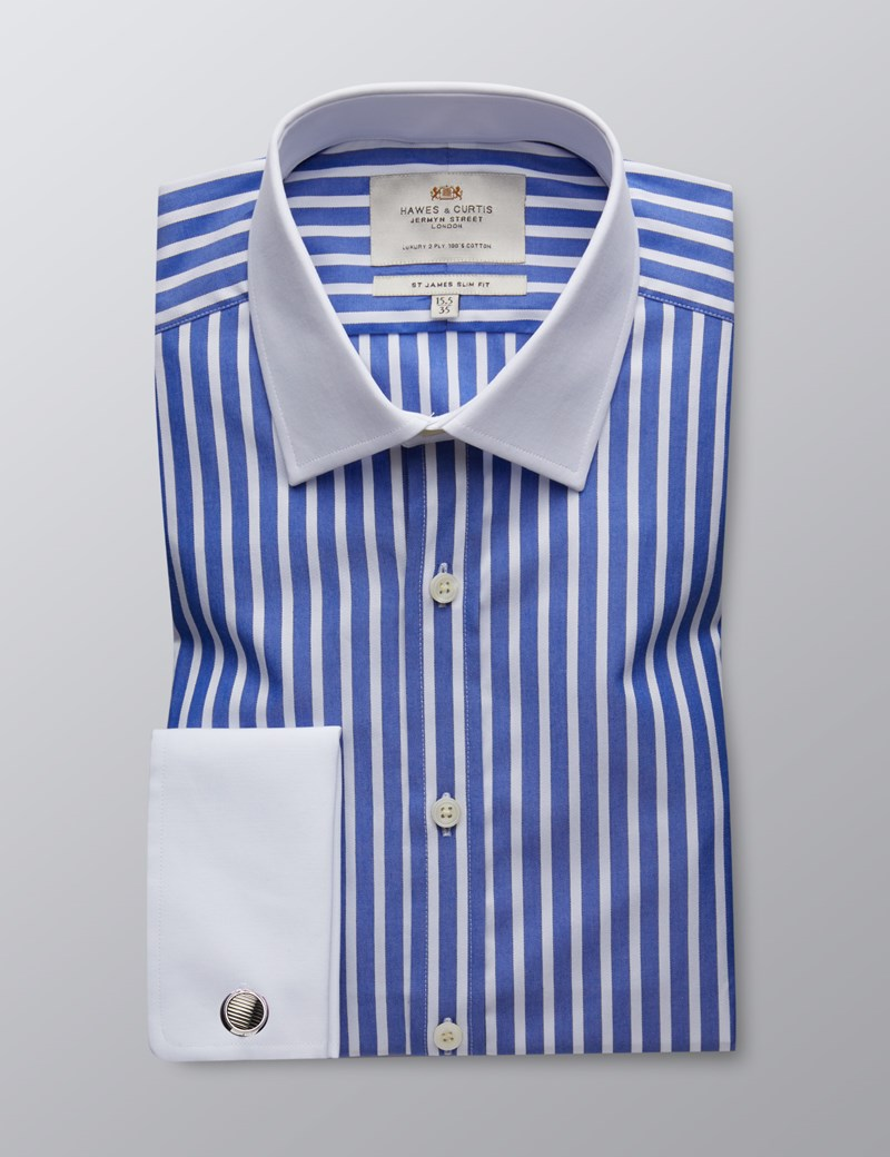 Men's Dress Blue & White Stripe Slim Fit Shirt - French Cuff - Easy Iron