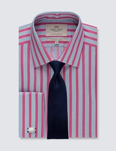 Men's Dress Pink & Blue Bold Stripe Slim Fit Shirt - French Cuff - Easy Iron