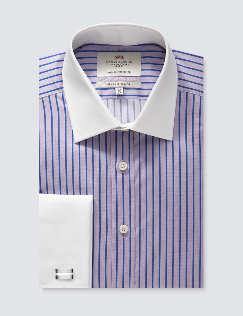 Men's Dress Lilac & Blue  Stripe Slim Fit Shirt With Contrast Collar & Cuff  - French Cuff - Easy Iron
