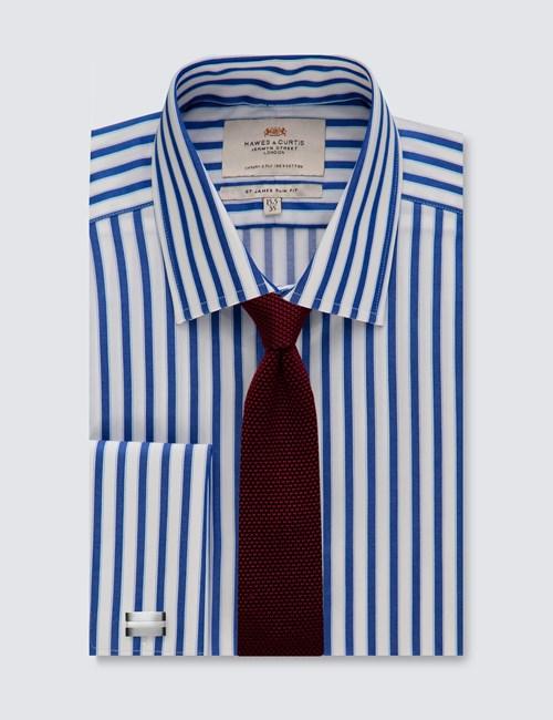 Men's Dress Blue & White Bold Stripe Slim Fit Shirt - French Cuff - Easy Iron