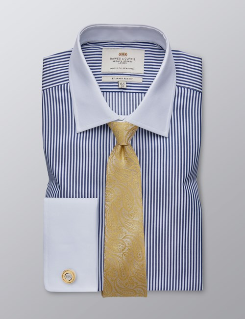 Men's Dress Navy & White Bengal Stripe Slim Fit Shirt With White Collar & Cuff- French Cuff - Easy Iron