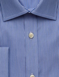 Men's Dress White & Blue Stripe Slim Fit Shirt - French Cuff - Easy Iron