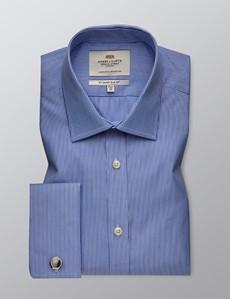 Men's Formal White & Blue Stripe Slim Fit Shirt - Double Cuff - Easy Iron