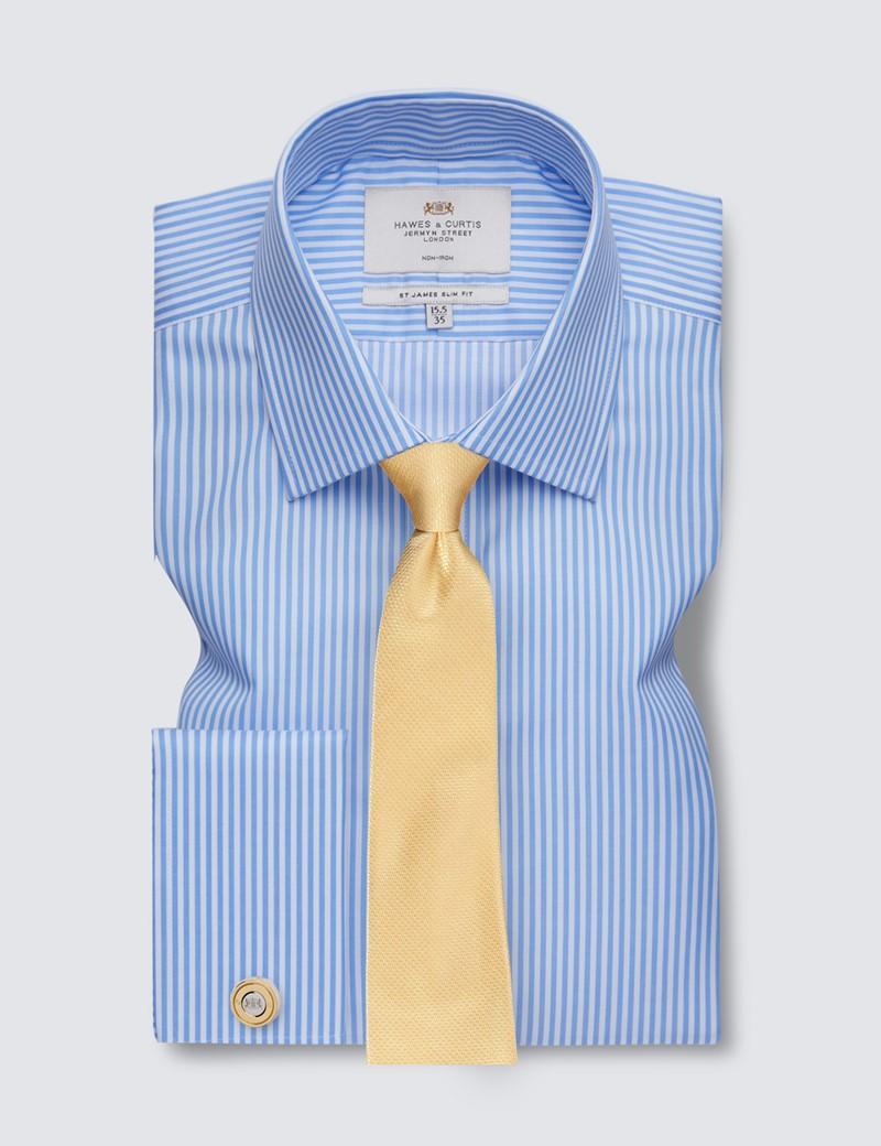 Non Iron Blue & White Bengal Stripe Slim Fit Shirt - Double Cuffs