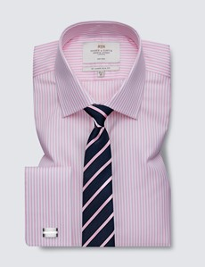 Non Iron Pink & White Bengal Stripe Slim Fit Shirt - Double Cuffs