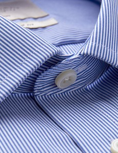 Men's Dress Blue & White Stripe Slim Fit Shirt - Non Iron