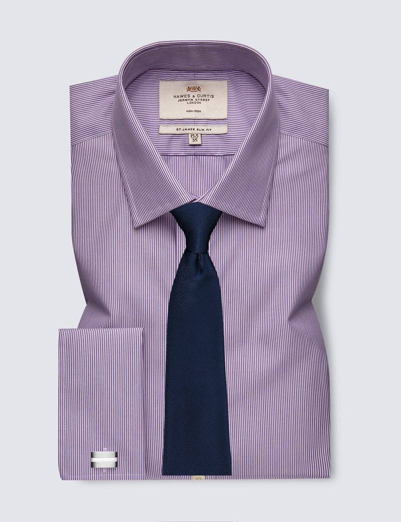 Men's Business Lilac & White Stripe Slim Fit Shirt - Non Iron