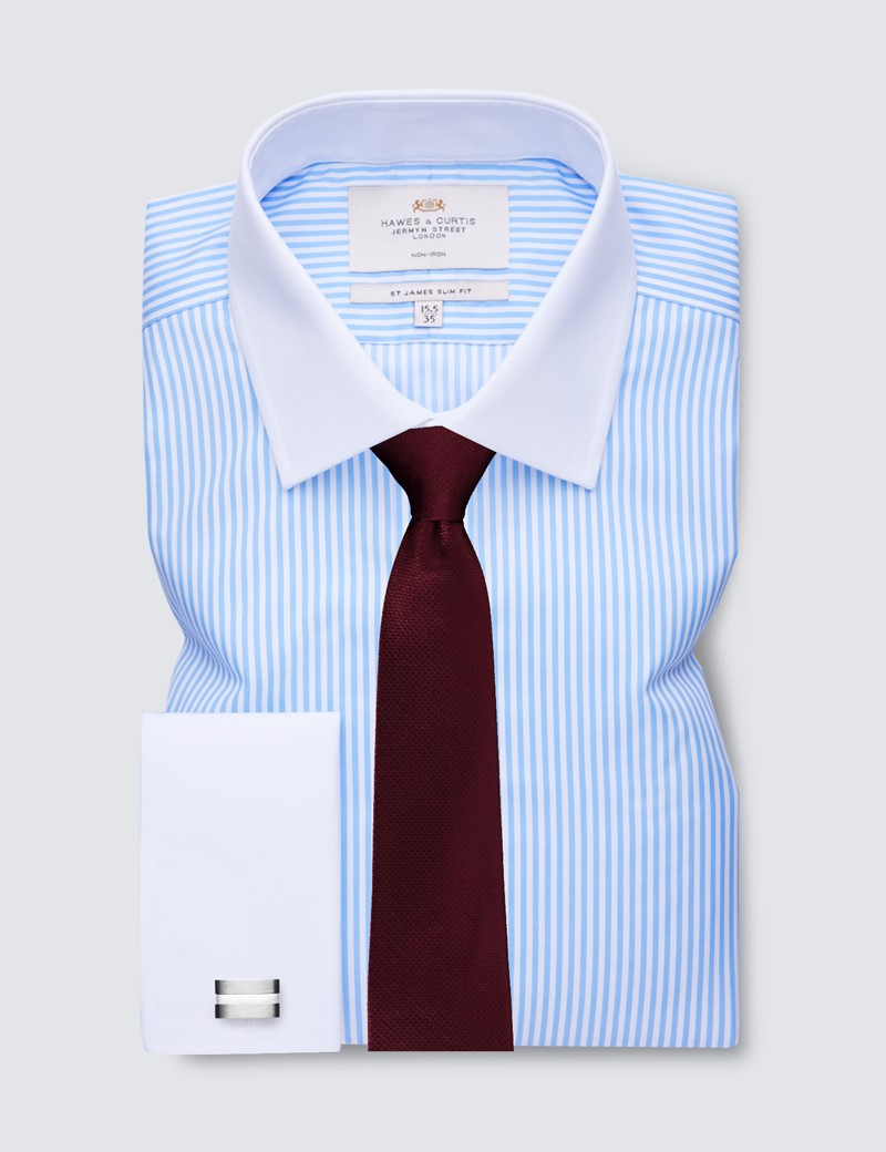 Non Iron Blue & White Bengal Stripe Slim Fit Shirt - Semi Cutaway Collar - Double Cuffs