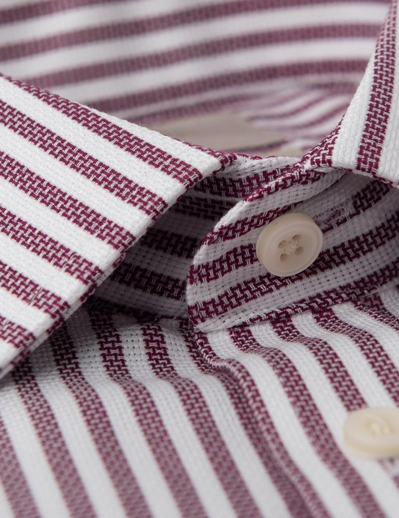 Men's Formal Wine & White Stripe Slim Fit Shirt - Double Cuff - Non Iron