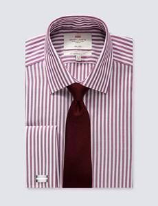 Men's Dress Wine & White Stripe Slim Fit Shirt - French Cuff - Non Iron