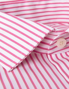 Men's Business Pink & White Stripe Slim Fit Shirt - Double Cuff - Non Iron