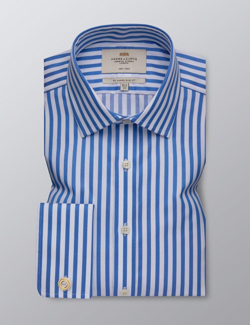 Bügelfreies Businesshemd – Slim Fit – Manschetten – Breite Streifen blau & weiß
