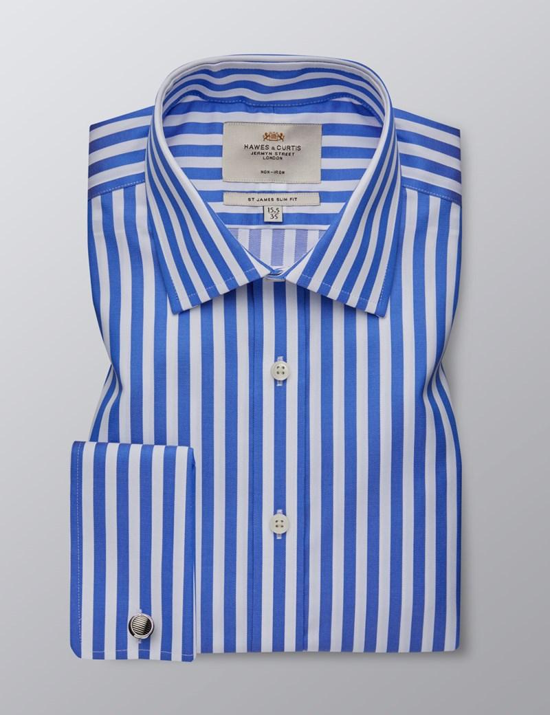 Bügelfreies Businesshemd – Slim Fit – Manschetten – Gestreift blau & weiß