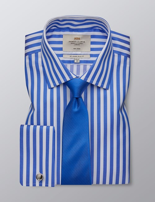 Men's Formal Royal & White Bold Stripe Slim Fit Shirt - Double Cuff - Non Iron