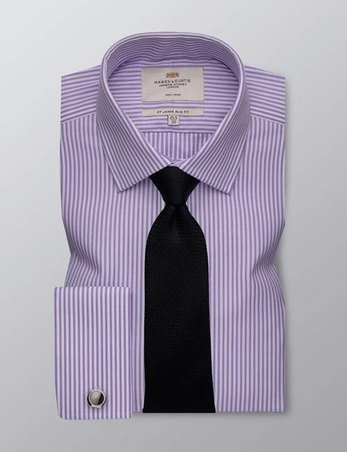 Men's Business Lilac & White Bi-Colour Stripe Slim Fit Shirt - Double Cuff - Non Iron