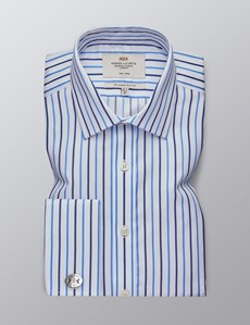 Men's Formal Blue & White Stripe Slim Fit Shirt - Double Cuff - Non Iron