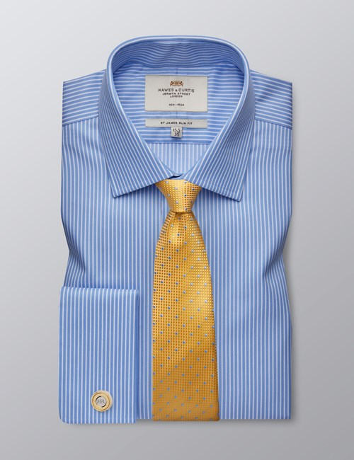Men's Formal Light Blue & White Stripe Slim Fit Shirt - Double Cuff - Non Iron