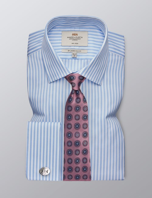 Men's Formal Blue & White Bengal Stripe Slim Fit Shirt - Double Cuff - Non Iron