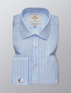 Men's Dress Blue & White Bengal Stripe Slim Fit Shirt - French Cuff - Non Iron