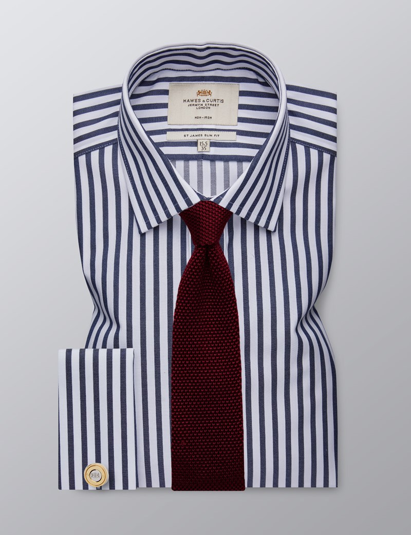 Men's Dress Navy & White Bold Stripe Slim Fit Shirt - French Cuff - Non Iron