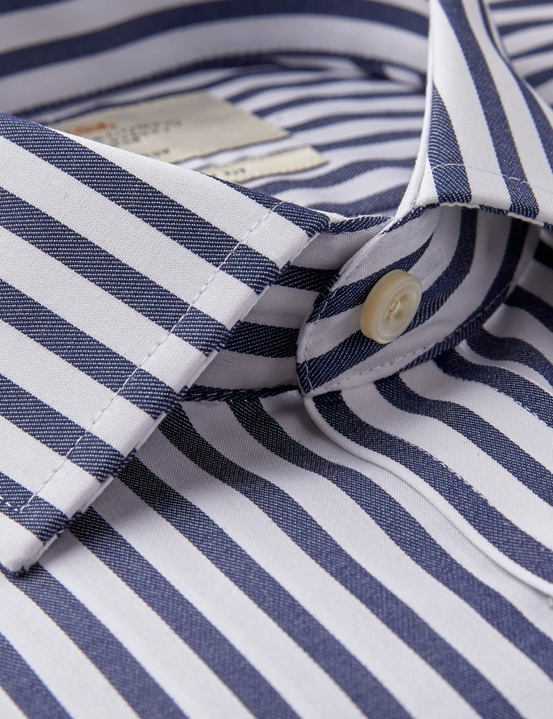 Men's Formal Navy & White Bold Stripe Slim Fit Shirt - Double Cuff - Non Iron