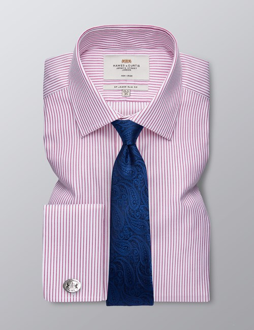 Men's Formal Fuchsia & White Herringbone Stripe Slim Fit Shirt - Double Cuff - Non Iron