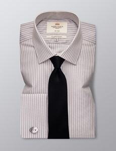 Men's Formal Grey & White Stripe Slim Fit Shirt - Double Cuff - Non Iron