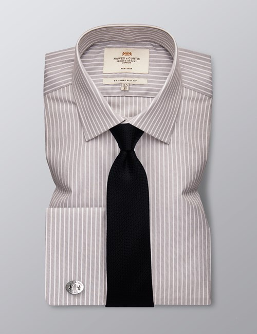 Men's Formal Grey & White Stripe Slim Fit Shirt - Double Cuff - Non Iron