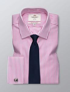 Men's Business Fuchsia & White Stripe Slim Fit Shirt - Double Cuff - Non Iron