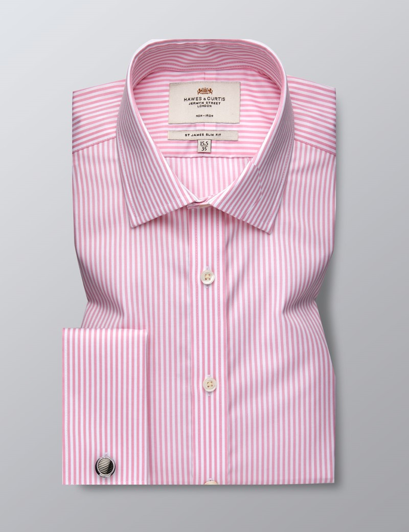 Men's Business Pink & White Bengal Stripe Slim Fit Shirt - Double Cuff - Non Iron