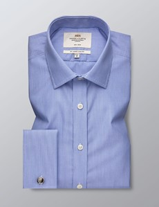 Men's Dress Blue & White Fine Stripe Slim Fit Shirt - Double Cuff - Non Iron