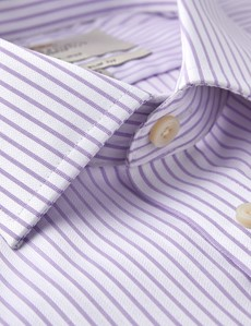 Men's Formal Lilac & White Herringbone Stripe Slim Fit Shirt - Double Cuff - Non Iron