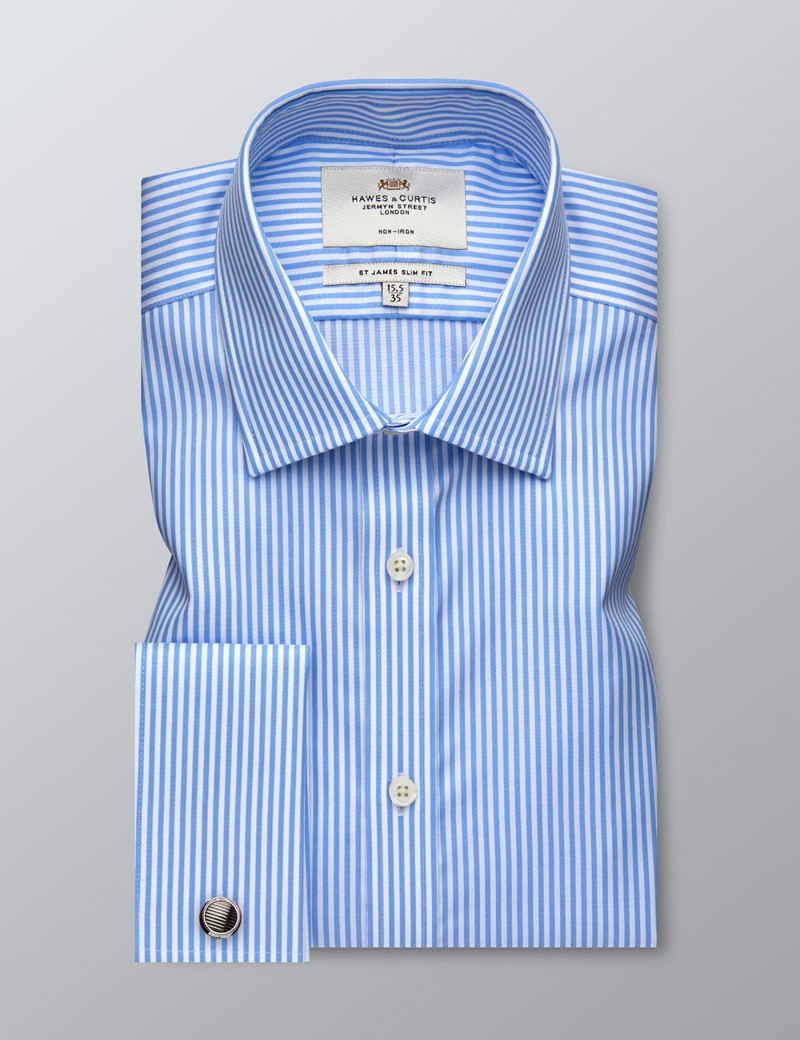 Men's Business Blue & White Bengal Stripe Slim Fit Shirt - Double Cuff - Non Iron