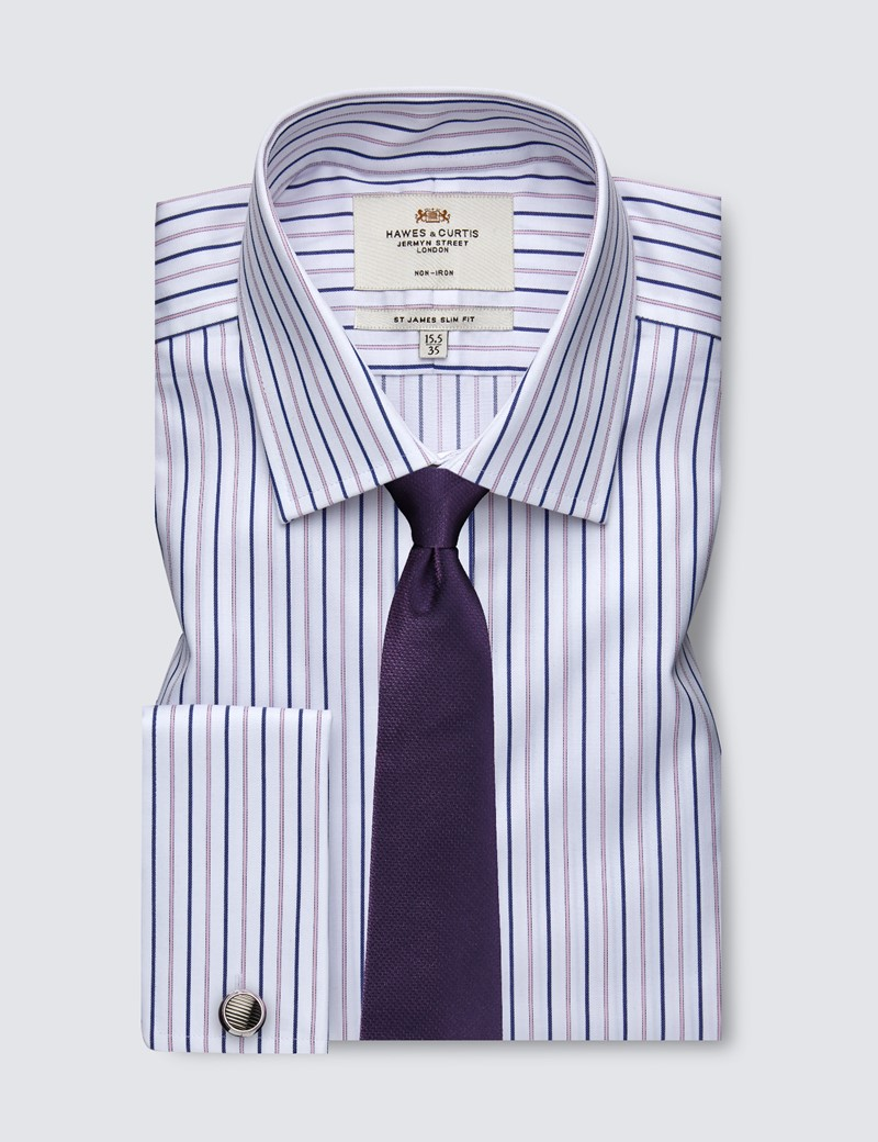 Men's Formal Pink & Navy Multi Stripe Slim Fit Shirt - Double Cuff - Non Iron