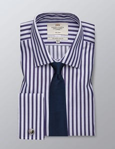 Men's Dress Navy & White Bengal Stripe Slim Fit Shirt - French Cuff - Non Iron