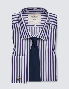 Men's Formal Navy & White Bengal Stripe Slim Fit Shirt - Double Cuff - Non Iron
