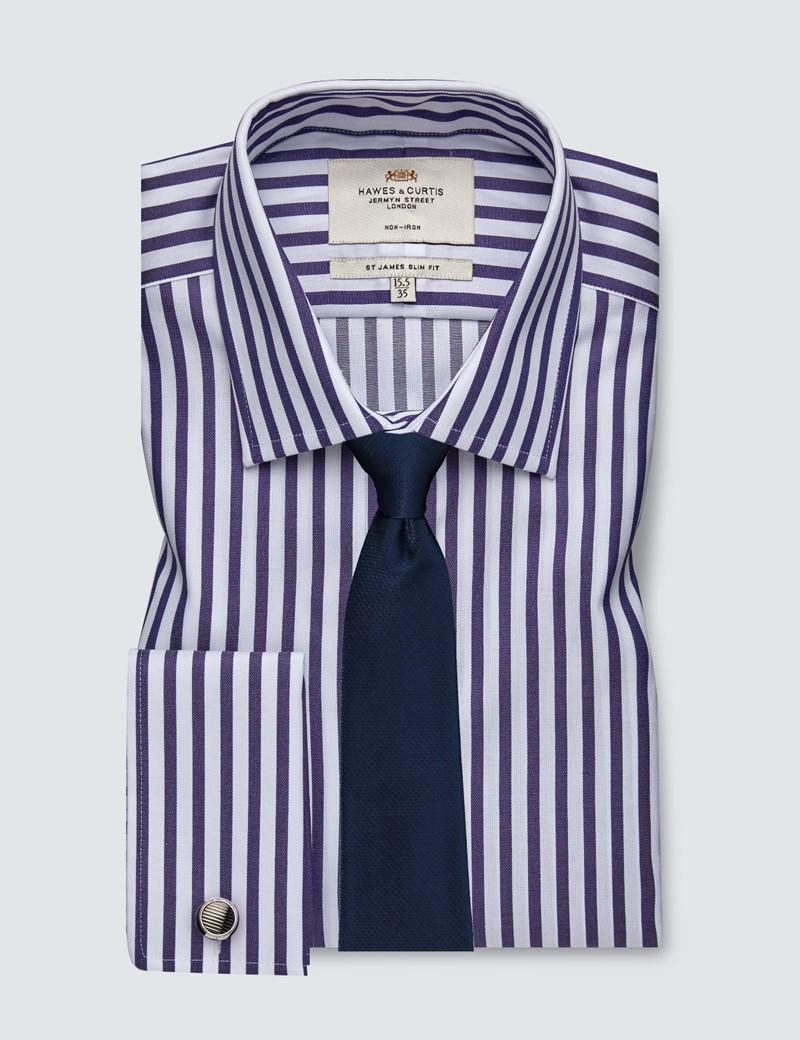 Men's Business Navy & White Bengal Stripe Slim Fit Shirt - Double Cuff - Non Iron