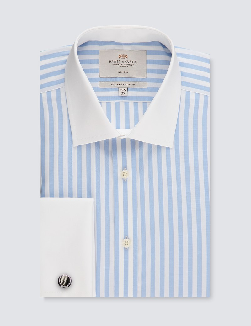 Men's Formal Light Blue & White Multi Stripe Slim Fit Shirt - Double Cuff - Non Iron