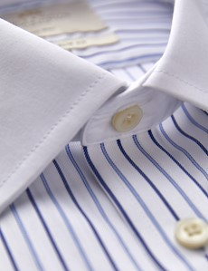 Men's Dress Blue & Navy Multi Stripe Slim Fit Shirt - French Cuff - Non Iron