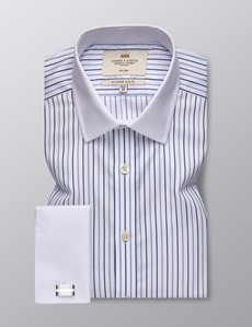 Men's Formal Blue & Navy Multi Stripe Slim Fit Shirt - Double Cuff - Non Iron