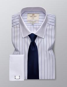 Men's Business Blue & Navy Multi Stripe Slim Fit Shirt - Double Cuff - Non Iron