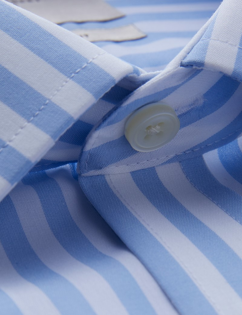 Men's Formal Blue & White Bold Stripe Slim Fit Shirt - Double Cuff - Non Iron