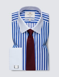 Men's Business Royal & White Bold Stripe Slim Fit Shirt with White Collar and Cuff - Double Cuff - Non Iron