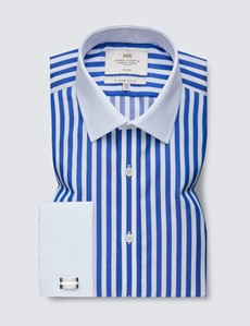 Men's Formal Royal & White Bold Stripe Slim Fit Shirt with White Collar and Cuff - Double Cuff - Non Iron
