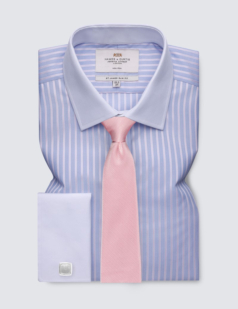Men's Business Blue & Pink Multi Stripe Slim Fit Shirt with White Collar and Cuff - Double Cuff - Non Iron